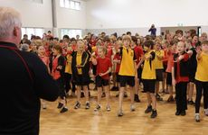 Bruce Morcombe teaches Woombye State School students about child safety today.