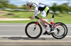 Darren Croad flies along the Mary Valley Hwy in the state time trial cycling in Gympie.