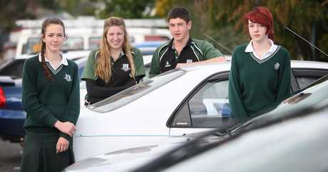 Otumoetai College students, from left: Ruby Blake, 17, Taylor Armstrong, 17, Ethan Inglis, 17, and Patsy Baldwin, 15.