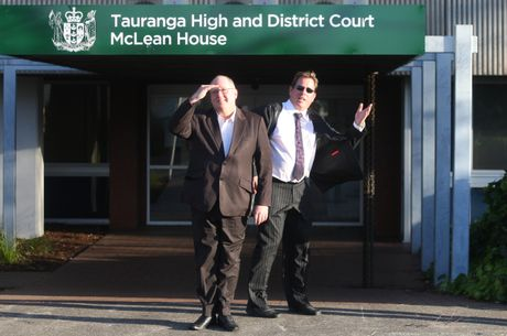 Hayden Evans, right, pictured with friend and accountant, Ian Stevenson, has taken police to court over the removal of his gun licence.