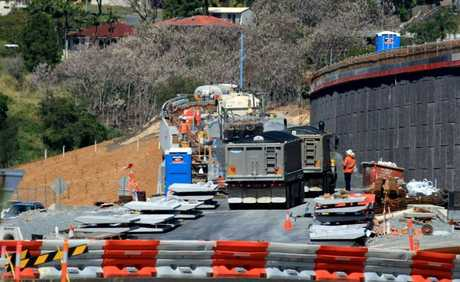 Crews working on the Banora Point Pacific Highway upgrade.
