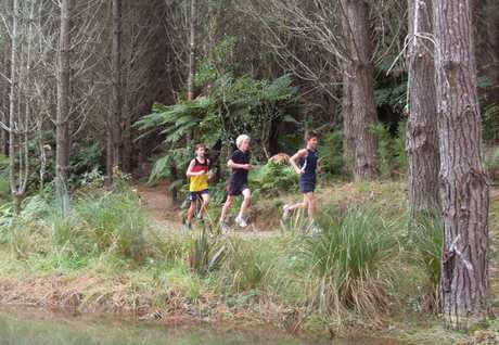 Tauranga Boys' College runners try out the new TECT All Terrain Park trail run.