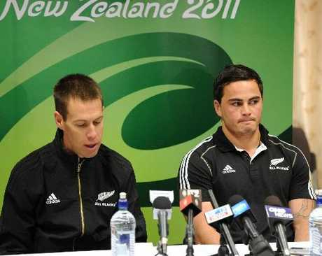 FRONTING UP: Hawke's Bay All Black Zac Guildford, right, with Hawke's Bay-raised All Blacks manager Darren Shand at yesterday's press conference. PHOTO/AP