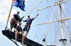 The Young Endeavour is leaving Gladstone today. Pictured are Shaun Hannant, Jayson Hannant and Lieutenant Commander Damien Munchenberg.
