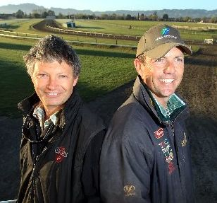 RENAISSANCE MEN: Hawke's Bay trainers Guy Lowry (left) and John Bary who are on the frontier of taking the province to the nostalgic era of dominance in the thoroughbred horseracing industry. PHOTO /PAUL TAYLOR HBT113902-01