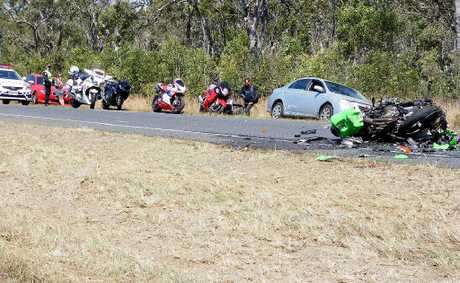 The scene of the fatal crash south of Childers on the Bruce Highway, in which Bundaberg man Ken Davis  is believed to have died.