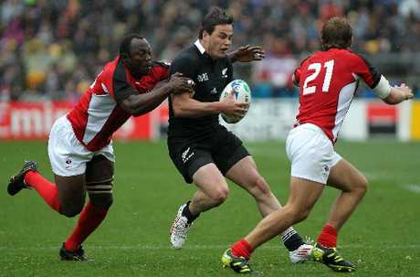All Black Zac Guildford during a Pool A, 2011 Rugby World Cup match, Wellington Regional Stadium.