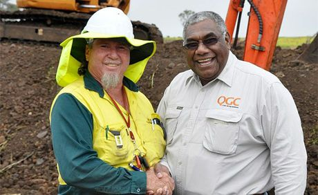 Mandandanji Limited CEO Bob Carlo (left) with QGC indigenous employment officer Gavin Vea Vea at Ag Training in Kingsthorpe