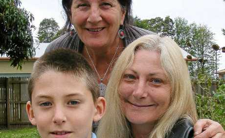 LUCKY TO HAVE A HOME: Vicki Webb and her son, James, with BDCSA case manager Susan Zann at a World Homeless Day breakfast in Ballina on Monday.