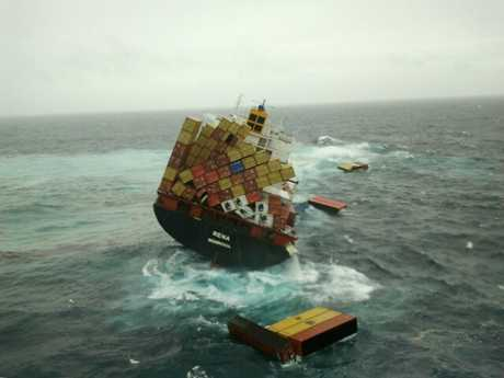 Containers tumble from the Rena as it listed dramatically to starboard yesterday.