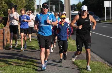 Jup Brown (left) is running the length of New Zealand to raise money and awareness for the Stroke Foundation of New Zealand.