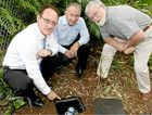 NO LEAKS: Steve Dickson with Athol Osbourne and David Edwards inspect the AquaTrip.