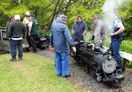 BROKEN: The miniature train which derailed at Keirunga Gardens, Havelock North, today.