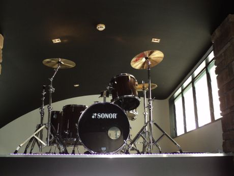 Phil's drum kit overlooks the restaurant.