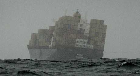 The grounded container ship Rena.