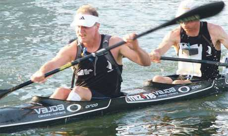 PADDLING HARD: Ben Bennett (front) and Keith Alderson on their way to silver in Singapore recently. PHOTO/SUPPLIED