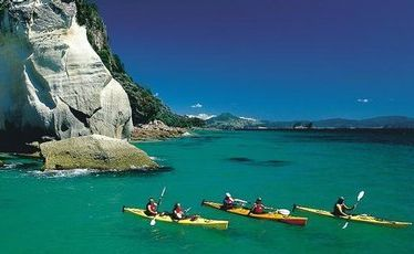 Sea kayakers at Cathedral Cove.