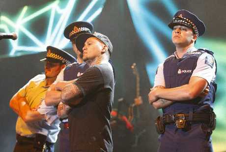 Police approved the use of genuine police uniforms to be worn by performers on stage with Tiki Taane at the New Zealand Music Awards.