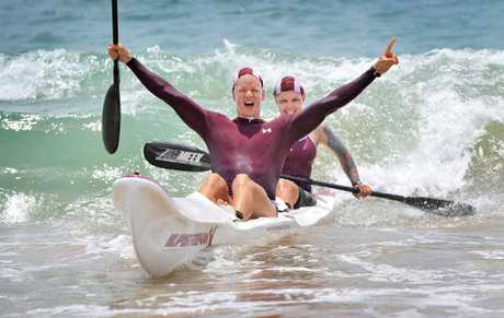 Zsolt Dallos and Josie Pike from Mooloolaba take out the mixed double ski at the Mooloolaba Masters Surf Lifesaving Carnival.