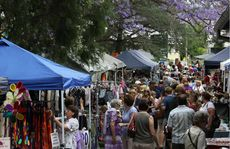A huge crowd gathered at the Grafton TAFE markets on Saturday.