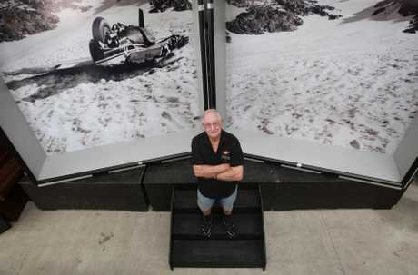 Jack Brown of Classic Flyers in front of an empty display set to house memorabilia from the Bay of Plenty Airways crash on Mt Ruapehu.