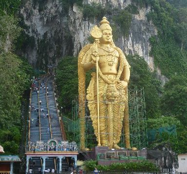 Hindu god Muruga greets visitors to the Batu Caves. Photo / Supplied