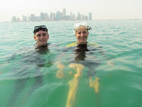 William Trubridge and Belinda Henley preparing to freedive. Photo / APN