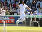South African bowler Vernon Philander celebrates victory in the first Test against Australia at Newlands in Cape Town, South Africa. 