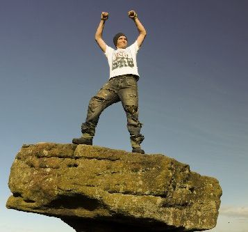 Daniel Taylor atop the Druid's writing table at Brimham Rocks, Nidderdale, North Yorkshire. Photo / Paul Taylor