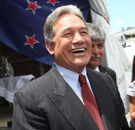 NZ First leader Winston Peters answers a questions after a speech in Tauranga's Red Square.