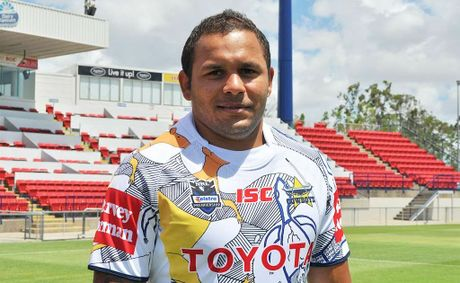 The Cowboys' Matt Bowen wears the club's new indigenous jersey.