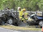 Two men died when this car exploded after it clipped another car and slammed into a power pole.