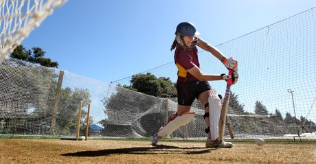 Hannah Trollip gets some practice in the nets.