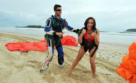Miss Coffs Coast finalist Sonia Durning is thrilled to land safely after skydiving from 10,000 feet on Wednesday morning.