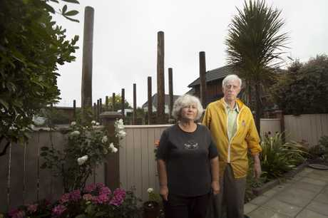 St Heliers residents Jacqui Stockman and Donn Webb are not happy about a preschool with huge fences being built next to their homes. 