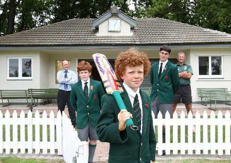 WICKET EVENT: From left, Hereworth School principal, Ross Scrymgeour, students Ben Aitken, Ben Kelt, and Henry Bone, with director of sport, Lincoln Doull, prepare for the school's 20/20 Celebrity Cricket Match in February. PHOTO/DUNCAN BROWN HBT1145687-02