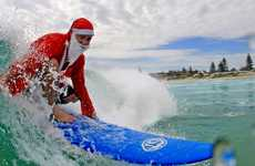 Santa Snapped Surfing at Kingscliff.