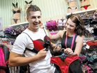 Bras N Things retail assistant Milana Cryer shows Danny Ungermann that finding the perfect item is all about putting yourselves in the recipient's shoes – or bra!