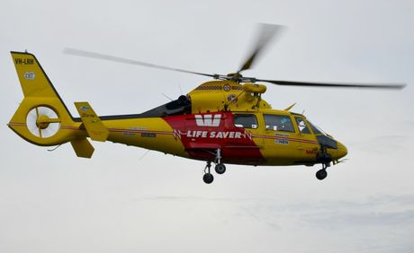 Up and away - the Westpac Lifesaver Rescue Helicopter has airlifted a man from Nunderi.