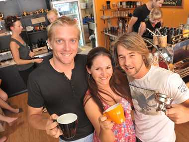Good Bean Espresso Bar owner Shane Hepburn, far left, with managers Miriam and Silas Flack.