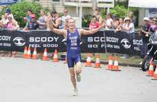 Caloundra Triathlon, Golden Beach. Jesse Featonby celebrates his win. Photo: Cade Mooney / Sunshine Coast Daily