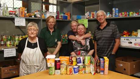 Foodbank volunteers Maureen Paterson, Robert McGruer, Linda Mitchell, Judith McGruer and foodbank chairman Mike Baker.