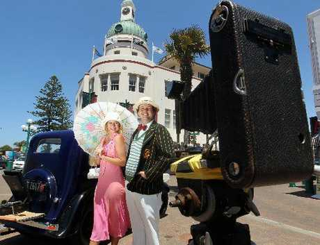 DECO DELIGHTS: Felicity Dorrington-Smythe and Andrew C Montgomery III, with No 3-A Folding Pocket Kodak tripod camera, are attracting younger people to some of the Bay's Art Deco jewels.