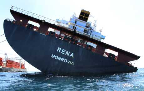 The wreck of the container ship Rena.