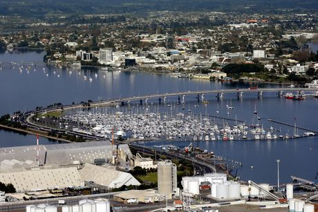 A view looking over the Tauranga Harbour bridge and downtown Tauranga.