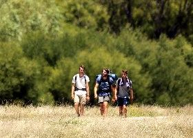 TESTY TRAVELS: Jordan Boyle, Ellery Nott and Cameron Poole Smith, all 21, are walking from Wellington to Napier to raise money for prostate cancer. PHOTO/PAUL TAYLOR HBT120454-01