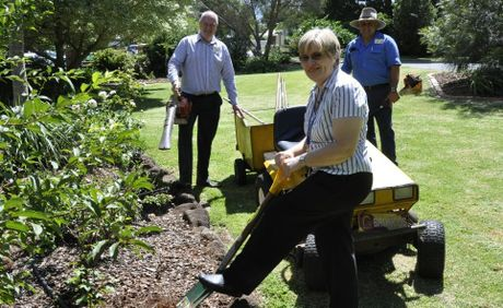 Getting started on the St Vincent's Hospital garden makeover are (from left) Alan Mallet, Mary Bailey and Wade Jackson.