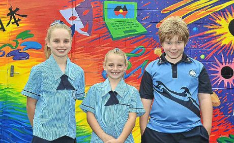 Kawana Waters State College students Kaitlyn Mitchell, Samantha Mitchell and Jay Jenkins are eager to start the new school year.