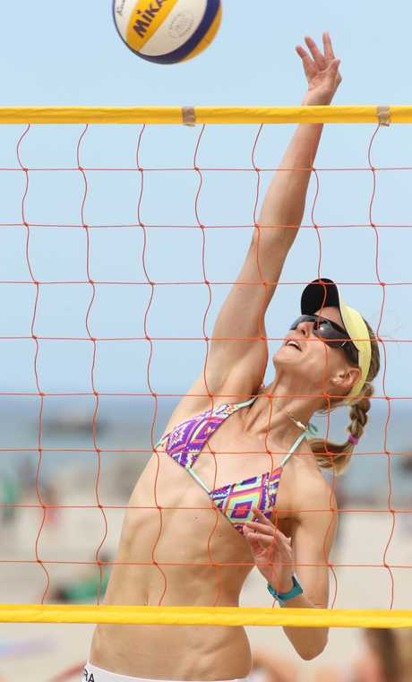 German beach volleyball player Sara Goller practices at the Mount Main Beach.