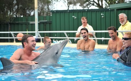 Bondi Rescue lifeguards meet the locals at the Pet Porpoise pool during last year's visit